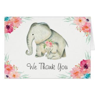 Carte Merci adorable de baby shower d'éléphants