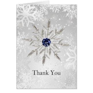 Carte Merci argenté de mariage d'hiver de flocons de
