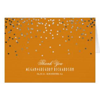 Carte Merci argenté et orange de mariage de confettis