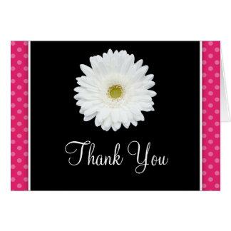 Carte Merci blanc de point de polka de rose de