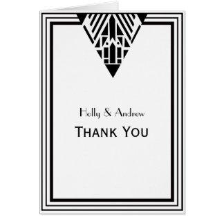 Carte Merci blanc du cadre #1 V de noir vintage d'art