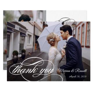 Carte Merci blanc élégant de photo de mariage de