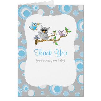 Carte Merci bleu et gris de baby shower de hibou de bébé