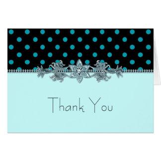 Carte Merci bleu turquoise de point de polka