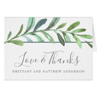 Carte Merci botanique de mariage de vignes modernes