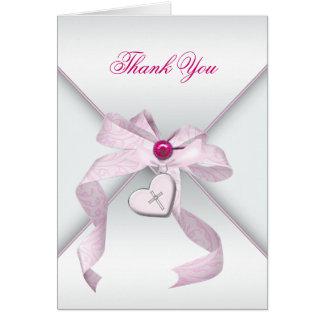 Carte Merci croisé rose de baptême de baptême