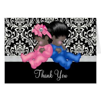 Carte Merci de baby shower d'Afro-américain