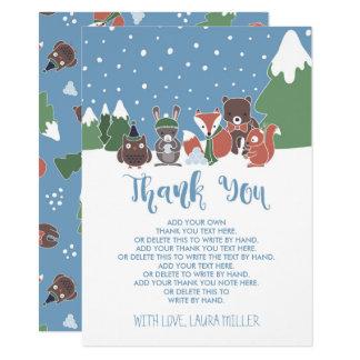 Carte Merci de baby shower d'animaux de région boisée
