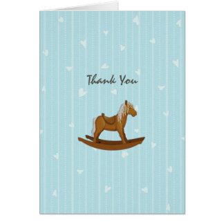 Carte Merci de baby shower de cheval de basculage