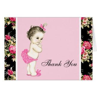 Carte Merci de baby shower de chintz de rose de rose