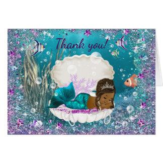 Carte Merci de baby shower de sirène d'Afro-américain