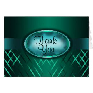 """Carte Merci """"de bouton floral rayé vert de Seafoam"""""""