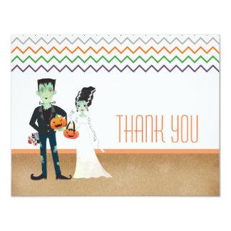 Carte Merci de Halloween de Frankenstein et de jeune