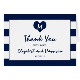 Carte Merci de mariage chic moderne de bleu marine et de