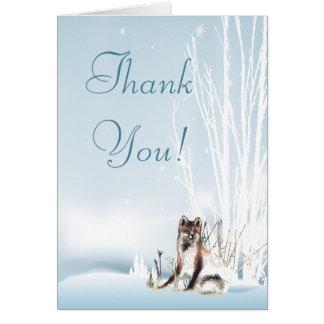 Carte Merci de mariage de loup d'hiver