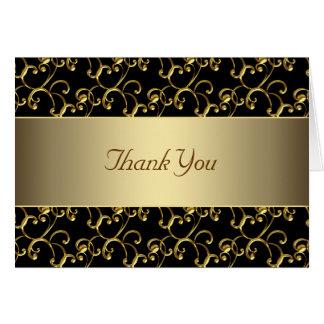 Carte Merci de noir élégant et d'or