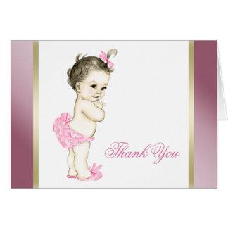 Carte Merci de rose et de bébé d'or
