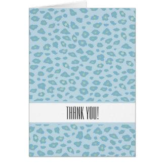 Carte Merci d'empreinte de léopard de bleu de ciel