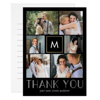 Carte Merci EDITABLE initial moderne de mariage de