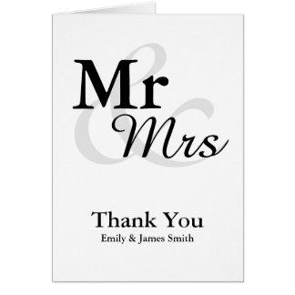 Carte Merci élégant simple de mariage de Mr&Mrs