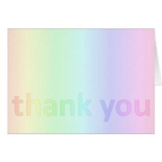 Carte Merci en pastel d'arc-en-ciel