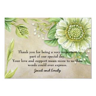 Carte Merci floral blanc de photo de Brown de verdure