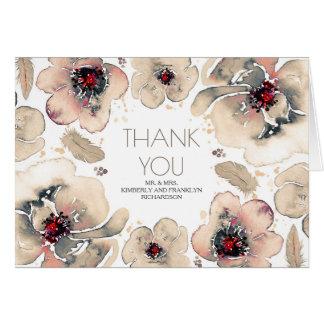 Carte Merci floral de mariage d'aquarelle ene ivoire de