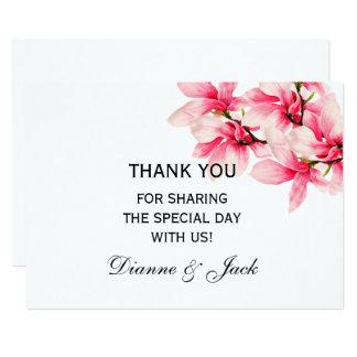 Carte MERCI floral de mariage de magnolia rose