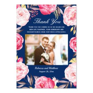 Carte Merci floral de mariage de photo de bleu marine de