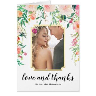 Carte Merci floral de photo de mariage d'aquarelle