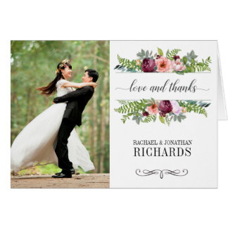 Carte Merci floral de photo de mariage d'imaginaire