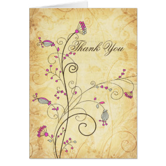 Carte Merci floral fuchsia vintage rustique de mariage