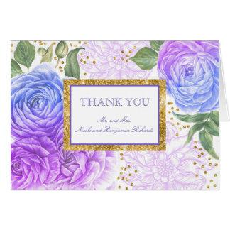 Carte Merci floral pourpre et bleu de confettis d'or