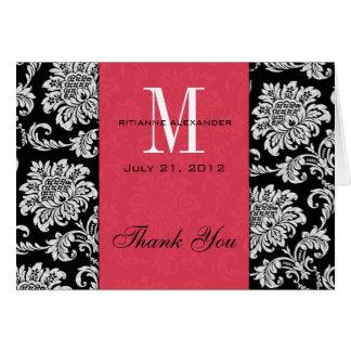 Carte Merci fuchsia de mariage de monogramme de damassé