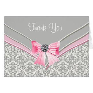 Carte Merci gris rose de damassé