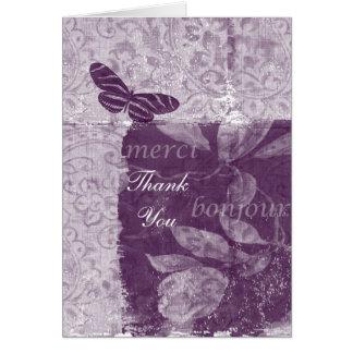 Carte Merci lilas français inspiré