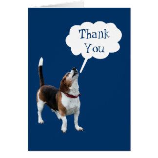 Carte Merci mignon de chien de beagle d'hurlement