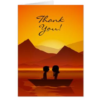 Carte Merci mignon de montagne de canotage de couples de