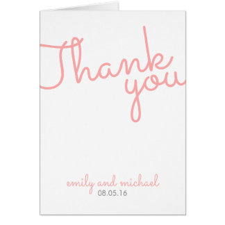 Carte Merci moderne rose de mariage de typographie