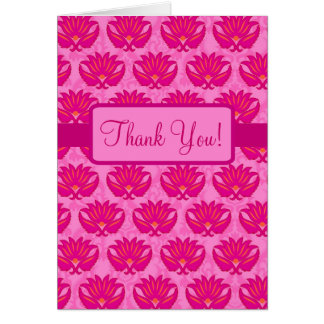 Carte Merci parisien rose fuchsia de damassé