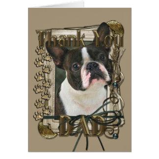 Carte Merci - pattes en pierre - Boston Terrier - papa