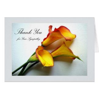 Carte Merci pour la sympathie, zantedeschias