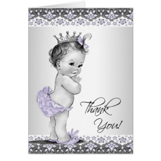 Carte Merci pourpre de princesse baby shower