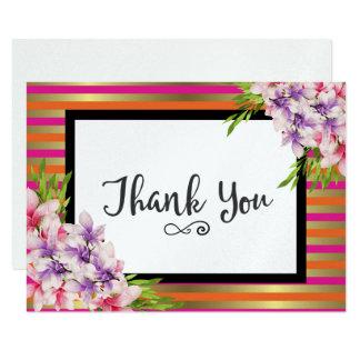 Carte Merci pourpre et rose de magnolia d'aquarelle