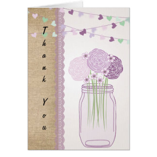 Carte Merci pourpre lilas de dentelle de toile de jute