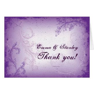 Carte Merci pourpre lilas vintage de mariage de feuille