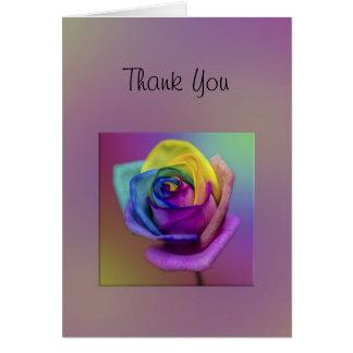 Carte Merci rose de fleur d'arc-en-ciel