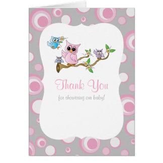 Carte Merci rose et gris de baby shower de hibou de bébé