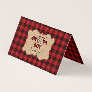 Carte Merci rouge de baby shower de Buffalo de bûcheron
