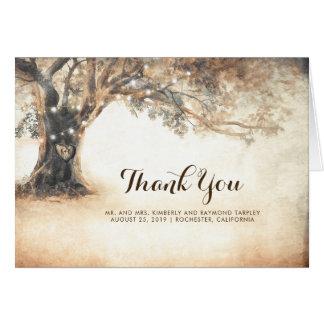 Carte Merci rustique de mariage de chêne